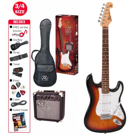 SX ELECTRIC 3/4 SUNBURST GUITAR WITH ACCESSORY PACKAGE AND AMP