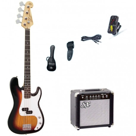 SX BASS GUITAR SUNBURST WITH ACCESSORY PACK AND AMP SB2SKTS
