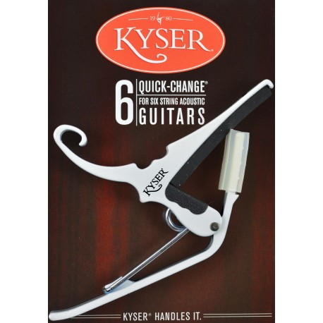 KYSER QUICK CHANGE WHITE CAPO FOR ACOUSTIC GUITARS