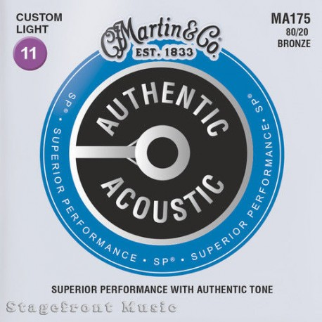 MARTIN MA175 ACOUSTIC GUITAR STRINGS CUSTOM LIGHT 80/20 BRONZE GAUGE 11-52