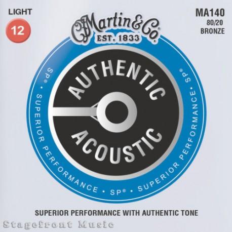 MARTIN MA140 ACOUSTIC STEEL GUITAR STRINGS LIGHT 80/20 BRONZE GAUGE 12-54