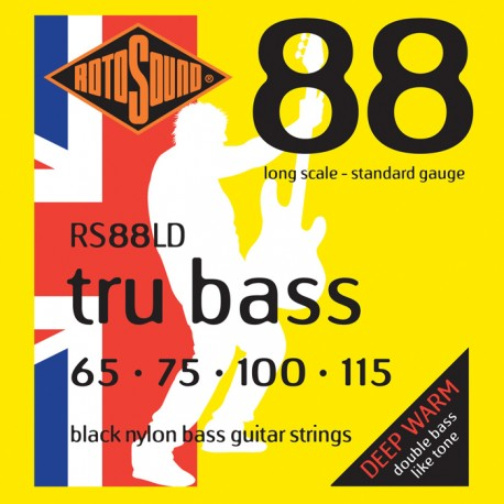 ROTOSOUND RS88LD TRU BASS BLACK NYLON FLAT WOUND STRINGS DEEP WARM TONE 65 - 115