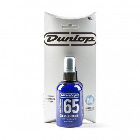 JIM DUNLOP PLATINUM 65 GUITAR CLEANER POLISH & CLOTH PACK 118ml P6521