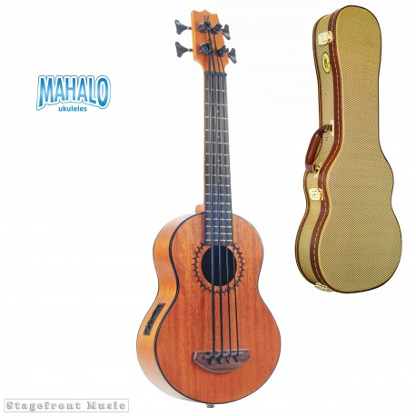 MAHALO MB1 BASS UKULELE WITH PICK UP. AQUILA THUNDERGUT STRINGS CASE INCLUDED