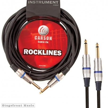 CARSON ROK20BK ROCKLINES 20FT/6M BRAIDED INSTRUMENT CABLE WITH HEAVY DUTY PLUGS