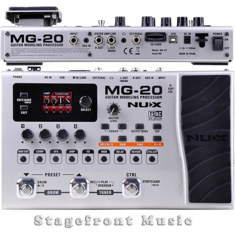 NUX MG20 GUITAR MODELING PROCESSOR MULTI EFFECTS UNIT PERFECT FOR LIVE OR STUDIO