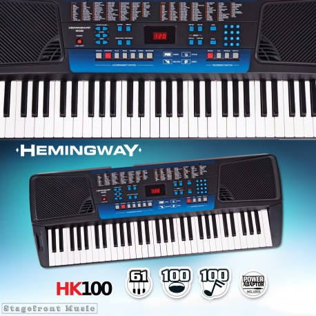 HEMINGWAY ELECTRONIC KEYBOARD HK100 61 NOTE FULL SIZE KEYS. 128 SOUNDS