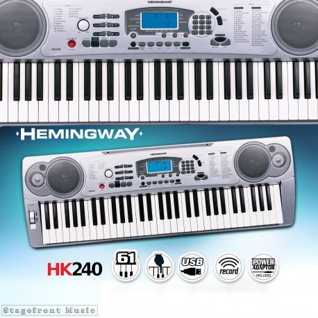 HEMINGWAY ELECTRONIC KEYBOARD HK240 61 NOTE FULL SIZE TOUCH RESPONSIVE KEYS