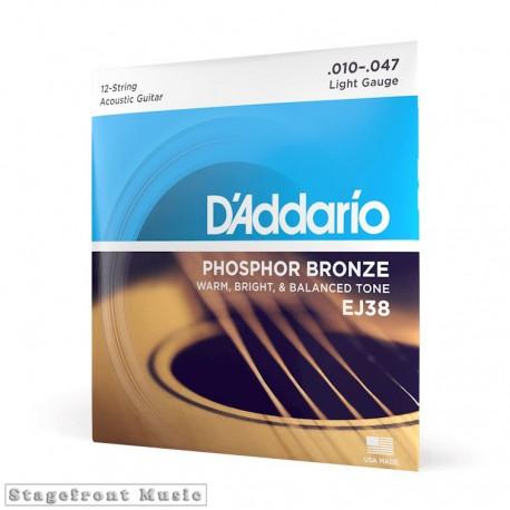 D'ADDARIO ACOUSTIC GUITAR PHOSPHOR BRONZE 12 STRING SET - SELECT GAUGE