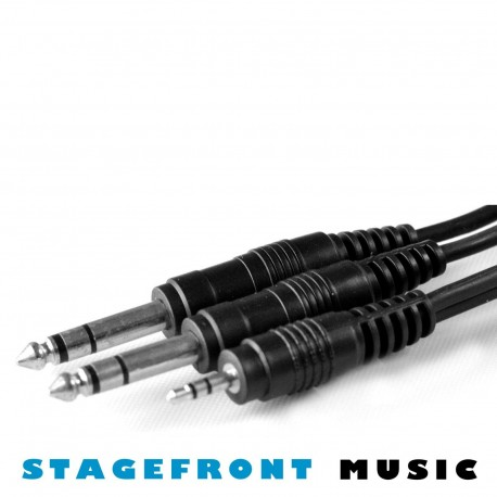 Y CABLE ADAPTOR SPLITTER 3.5 STEREO (M) - 2 x 6.3 STEREO (M)  2mt