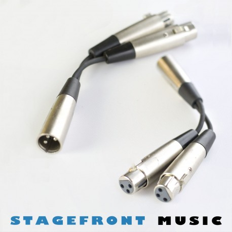 Y CABLE ADAPTOR SPLITTER NICKEL 1 x XLR (M) TO 2 x XLR (F) 3 PIN