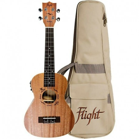 FLIGHT CONCERT ELECTRIC UKULELE LAZER ETCHED SURFING ROSETTE WITH PADDED GIG BAG