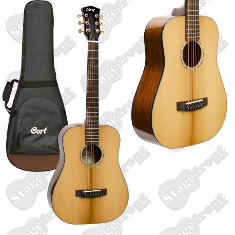 CORT GOLD TRAVELLER MINI ¾ BODY ACOUSTIC ALL SOLID TRAVEL GUITAR WITH SOFT CASE