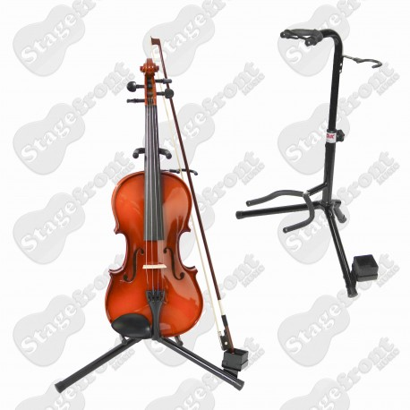 VIOLIN STAND STURDY HEAVY DUTY TUBULAR STYLE WITH BOW SUPPORT