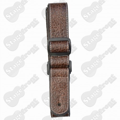 "XTR LEATHER STYLE 1½"" UKULELE STRAP CHROME END PIN BROWN W/ WHITE STITCHING"