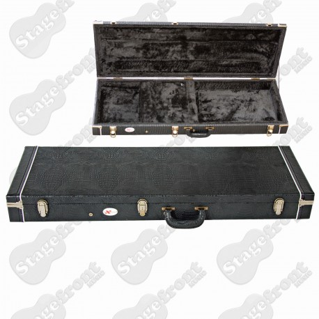 XTREME ELECTRIC GUITAR Strat/Tele RECTANGULAR HARDCASE. BLACK CROC VINYL
