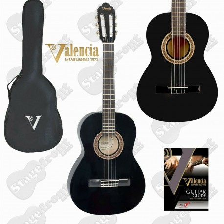 VALENCIA BEGINNER NYLON STRING BLACK GUITAR WITH BAG - SELECT SIZE