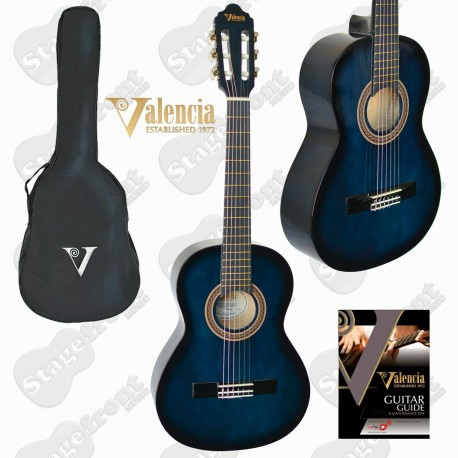 VALENCIA CLASSICAL NYLON STRING GUITAR BLUE BURST with BAG - SELECT SIZE
