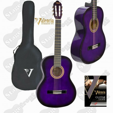 VALENCIA NYLON STRING CLASSICAL GUITAR. PURPLE BURST - SELECT SIZE