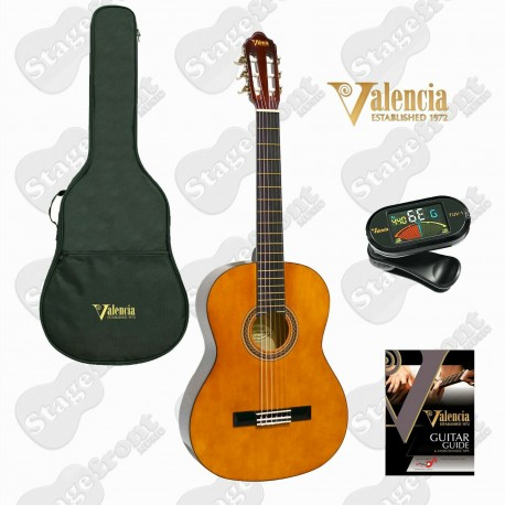 VALENCIA STUDENT CLASSICAL GUITAR KIT NATURAL GLOSS W/ BAG & TUNER - SELECT SIZE