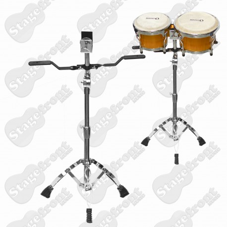 BONGO STAND SHORT HEAVY DUTY DOUBLE BRACED WITH SUPPORT ARMS. HEIGHT ADJUSTABLE