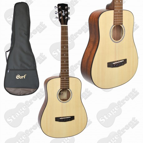 CORT AD MINI ACOUSTIC TRAVELLER OPEN PORE GUITAR WITH BAG