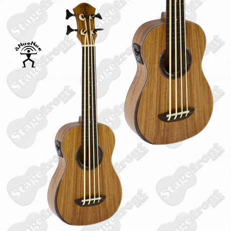 "ANUENUE I'M BASS KOA UKULELE ""FAT LIP"". ACOUSTIC/ELECTRIC WITH GIG BAG"