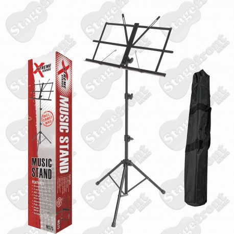 XTREME BLACK PLATED MUSIC STAND *HEAVY DUTY* FRAME WITH CARRY BAG - MS75