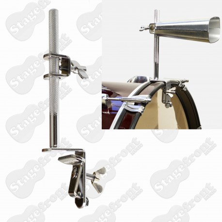 COWBELL HOLDER WITH HOOP MOUNTED CLAMP. HEIGHT ADJUSTABLE