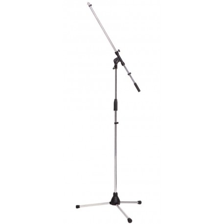 MICROPHONE BOOM STAND. HEAVY DUTY TRIPOD. CHROME