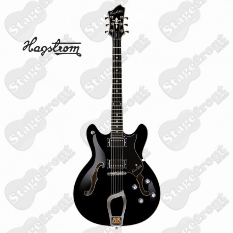 HAGSTROM VIKBLK VIKING SEMI-HOLLOW BODY GUITAR IN BLACK GLOSS WITH CASE