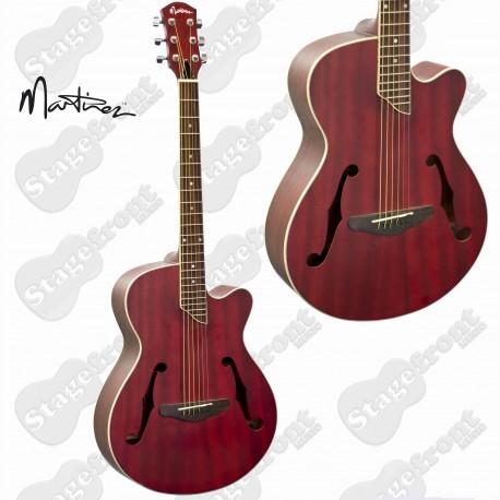 MARTINEZ JAZZ HYBRID SMALL BODY ACOUSTIC CUTAWAY GUITAR RED MJH-3C-TRD