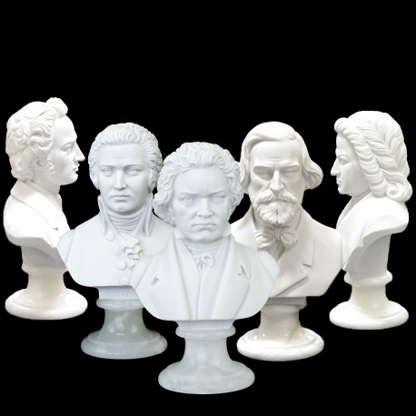 COMPOSER BUST CRUSHED MARBLE STATUE/FIGURINE - 22cm VARIOUS COMPOSERS