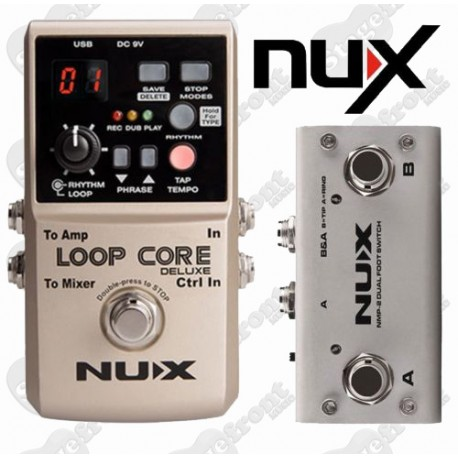 NUX LOOP CORE DELUXE 24 BIT GUITAR LOOPER EFFECTS PEDAL WITH DUAL FOOTSWITCH