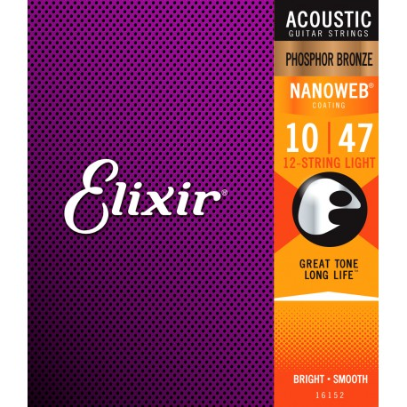 ELIXIR 12 STRING NANOWEB ACOUSTIC PHOSPHOR BRONZE GUITAR STRINGS 10-47