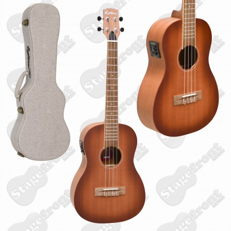 MARTINEZ BARITONE UKULELE SOLID MAHOGANY TOP ACOUSTIC ELECTRIC WITH HARD CASE