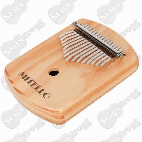 MITELLO KALIMBA WITH ACOUSTIC SOUNDHOLE and 15 PLATED STEEL KEYS