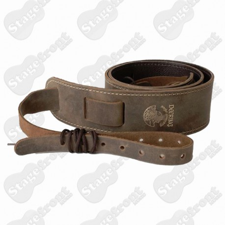 DEERING STITCHED LEATHER CRADLE STRAP FEATURES BRUSHED LEATHER WEATHERED LOOK