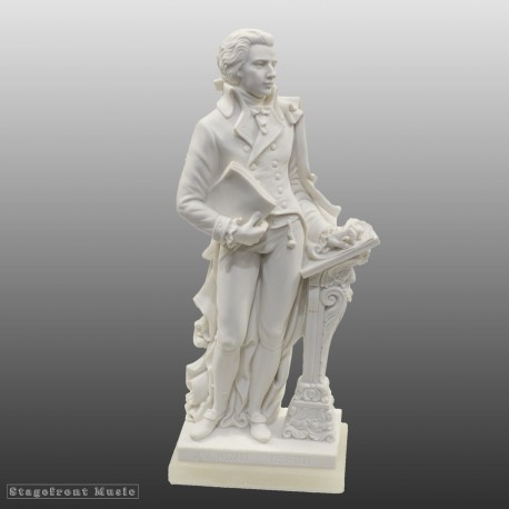 STANDING FIGURINE COMPOSER BUST OF MOZART 27cm CRUSHED MARBLE STATUE - MADE IN ITALY