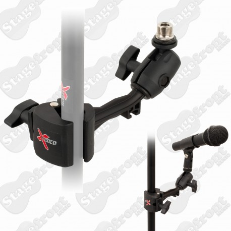 MICROPHONE HOLDER ADDON TO MICROPHONE STAND. PLASTIC CLAMP WITH ANGLE ADJUSTMENT