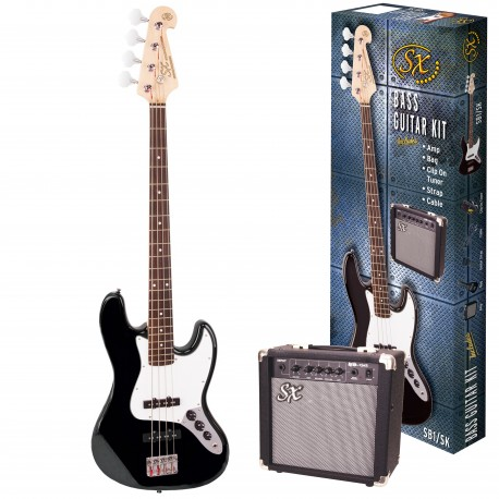 ESSEX BASS GUITAR BLACK WITH ACCESSORY PACK AND AMP SB1SKB