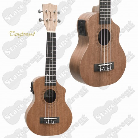 TANGLEWOOD ELECTRIC SOPRANO UKULELE TUT1CE WITH BUILT IN PICKUP &TUNER