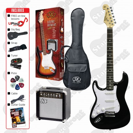 SX LEFT HAND ELECTRIC 3/4 BLACK GUITAR WITH ACCESSORY PACKAGE AND AMP