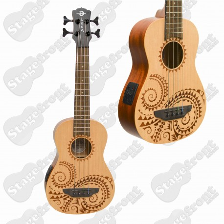 LUNA ACOUSTIC /ELECTRIC UKULELE BASS BARITONE LASER ETCHED TATTOO – UKEBASSTAT