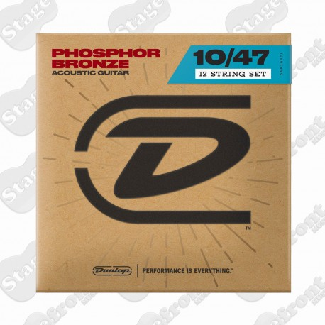 DUNLOP 12 STRING ACOUSTIC GUITAR STRINGS PHOSPHOR BRONZE 10-47