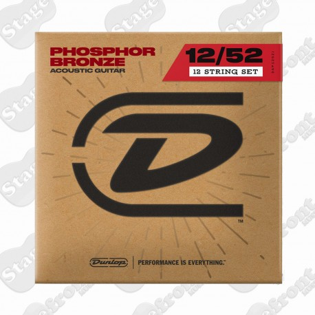 DUNLOP 12 STRING ACOUSTIC GUITAR STRINGS PHOSPHOR BRONZE 12-52