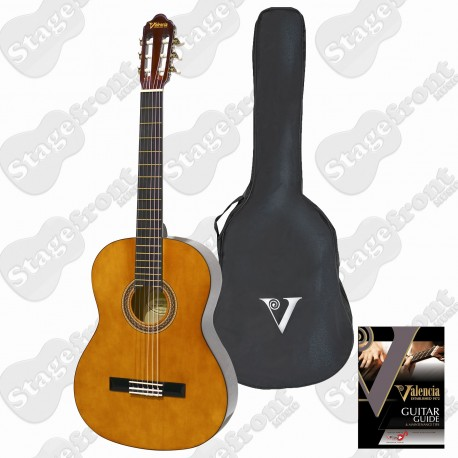 VALENCIA LEFT HAND FULL SIZE CLASSICAL GUITAR NATURAL GLOSS W/ GUITAR GUIDE VC104L