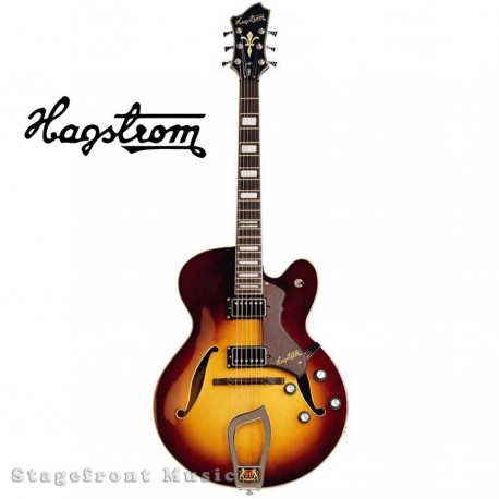 HAGSTROM HJ800 VSB HOLLOW BODY GUITAR IN VINTAGE SUNBURST WITH CASE