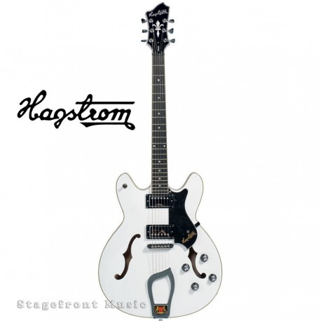 HAGSTROM VIKWHT VIKING SEMI-HOLLOW BODY GUITAR IN WHITE GLOSS WITH CASE