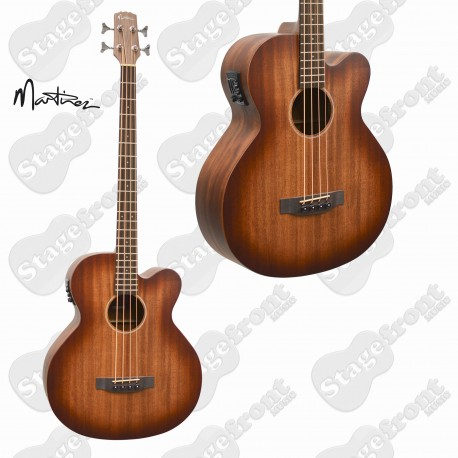 MARTINEZ SOUTHERN STAR MAHOGANY SOLID TOP ACOUSTIC /ELECTRIC BASS GUITAR  with CASE